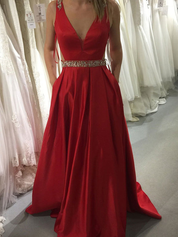 A-line Prom Dresses Long Red V neck Modest Prom Dress Evening Dresses #SED265