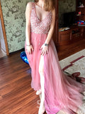 Chic Blush Pink V neck BeautifulLong Prom Dresses With Rhinestone Evening Dresses  #SED270