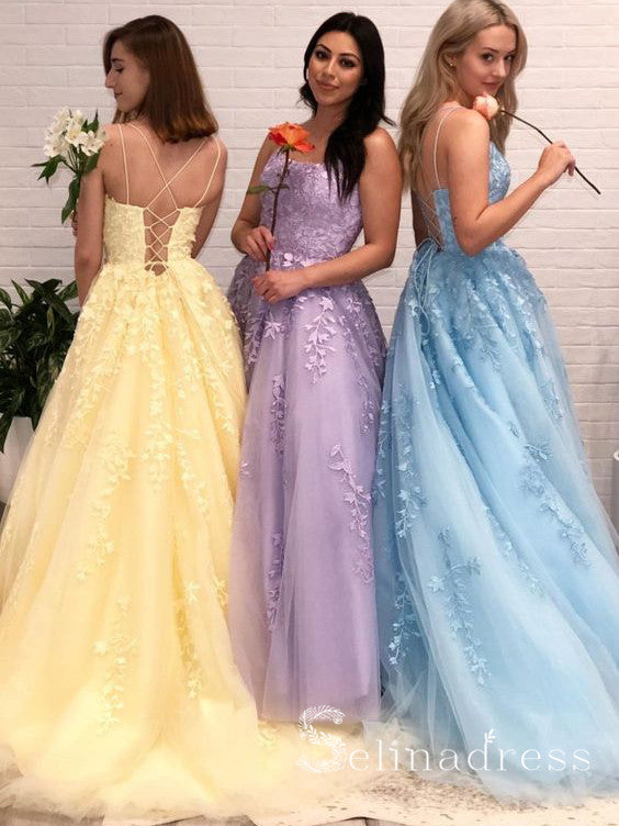 A-line Spaghetti Straps Modest Cheap Long Prom Dresses Applique Evening Dress SED517