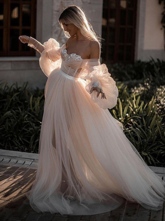 Blushing Pink Long Wedding Dresses Off-the-shoulder Long Sleeve Wedding Gowns SEW001|Selinadress