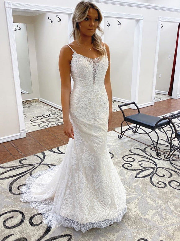 Trumpet/Mermaid Spaghetti Straps Lace  Bridal Gonws Backless Wedding Dress SEW063|Selinadress