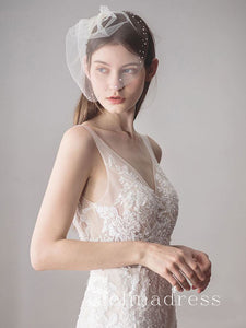 Vintage-Inspired Birdcage Veils with Tiny Crystals Blusher Veil ALC004