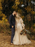 V neck Long Sleeve Rustic Wedding Dresses Champagne Bridal Gowns SEW071