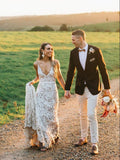 Mermaid V neck Rustic Wedding Dresses Lace Bridal Gowns SEW072