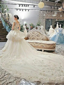 A-line Cathedral Train Lace with Flowers Royal Lace Wedding Dresses SEW026|Selinadress