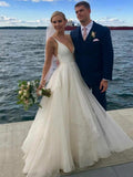 A-line Ivory Deep V neck Wedding Dresses Simple Cheap Wedding Gowns SEW029|Selinadress