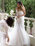 Gorgeous Mermaid Beading Lace Strapless Sweetheart Wedding Dresses SEW077