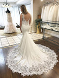 Mermaid V neck Lace Wedding Dresses Cathedral Train Wedding Gowns SEW035|Selinadress