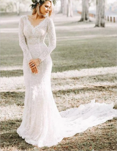 Mermaid V neck Long Sleeve Wedding Dresses Rustic Lace Wedding Gowns SEW037|Selinadress