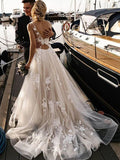 A Line Floral Appliques Beach Wedding Dresses Backless Tulle Wedding Gowns SED360