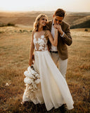 See Through Floor Length Beach Wedding Dresses Rustic Bridal Dresses SEW041|Selinadress