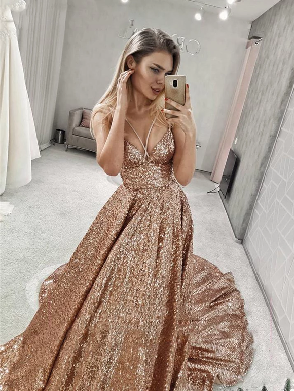 A-line Sparkly Straps V Neck Long Prom Dresses Sequin Evening Dress SED509|Selinadress