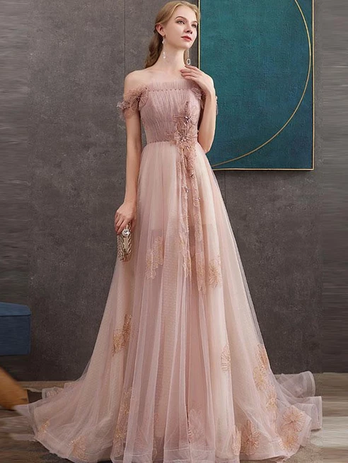 A-line Off-the-shoulder Pink Long Prom Dresses Lace Evening Dress SED511|Selinadress