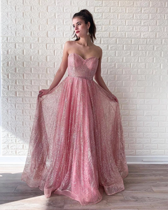 A-line Sweetheart Pink Long Prom Dresses Sparkly Evening Dress SED512|Selinadress