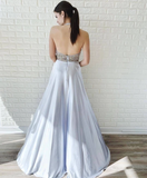 A-line Halter Silver Long Prom Dresses Beading Evening Dress SED513|Selinadress