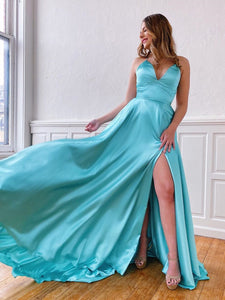 A-line Spaghetti Straps Blue Long Prom Dresses Cheap Evening Dress SED510|Selinadress