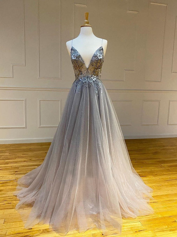 A-line Spaghetti Straps Silver Long Prom Dresses Beading Evening Dress SED519