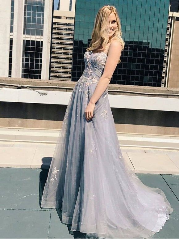 A-line Spaghetti Straps Silver Long Prom Dresses Lace Evening Dress SED520