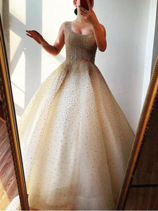 A-line Square Ball Gown Long Prom Dresses Tulle Beading Evening Dress SED521