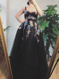A-line Black Beautiful Long Prom Dresses Tulle Applique Evening Dress SED522