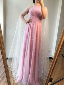 A-line Beautiful Pink Long Prom Dresses With Cloak Tulle Evening Dress SED523