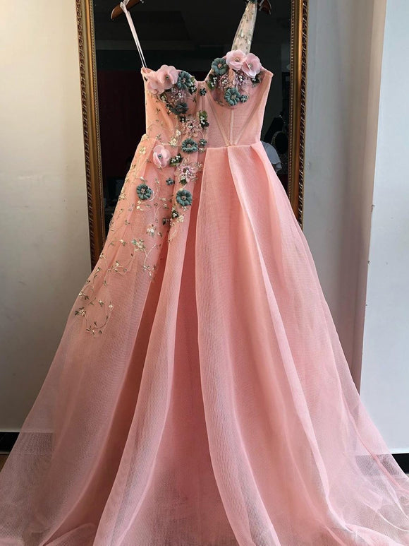 A-line One Shoulder Pink Long Prom Dresses Beautiful Floral Evening Dress SED524