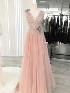 A-line V neck Pink Long Prom Dresses Tulle Evening Dress SED529|Selinadress