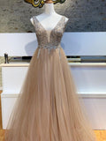 A-line V neck Pink Long Prom Dresses Beading Evening Dress SED530|Selinadress