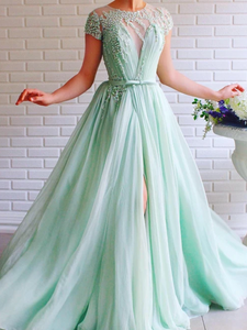 A-line Scoop Mint Green Long Prom Dresses Beading Tulle Evening Dress SED531|Selinadress