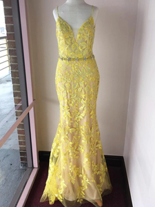 Trumpet/Mermaid Spaghetti Straps Lace Long Prom Dresses Yellow Evening Dress SED534|Selinadress