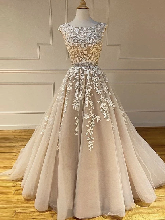 A-line Scoop Champagne Applique Long Prom Dresses Cheap Evening Dress SED539|Selinadress