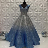A-line V neck Ombre Long Prom Dresses Sequins Evening Dress SED568|Selinadress