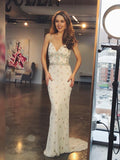 Chic Trumpet/Mermaid Spaghetti Straps Beaded Long Prom Dresses Evening Dress GKS203|Selinadress