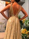 Chic A-line Gold Sparkly V neck Long Prom Dresses Evening Dress GKS204|Selinadress