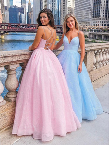 Chic A-line Spaghetti Straps Pink Long Prom Dresses Evening Dress GKS206|Selinadress