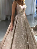 Chic A-line V neck Long Sparkly Gold Prom Dresses Evening Dress GKS207|Selinadress