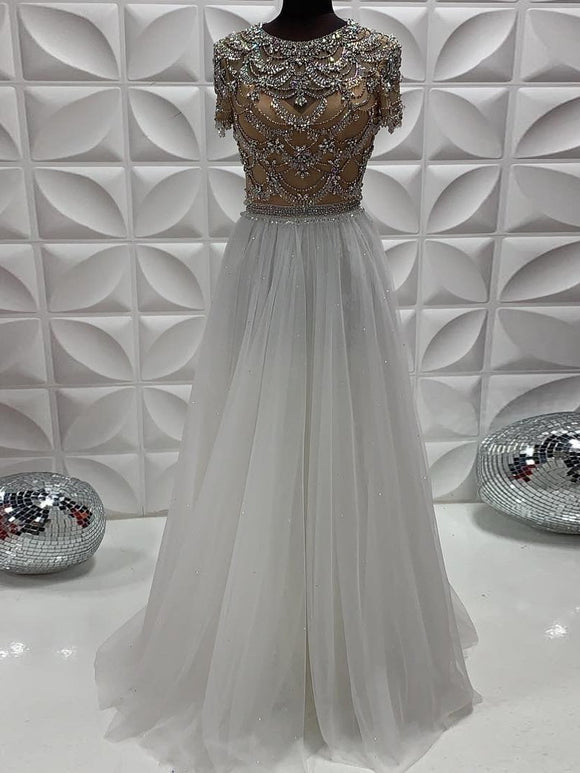 Chic A-line Scoop Short Sleeve Beaded Long Prom Dresses Evening Dress GKS210|Selinadress