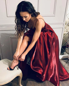 Chic A-line Spaghetti Straps Burgundy Cheap Long Prom Dresses Evening Dress GKS213|Selinadress