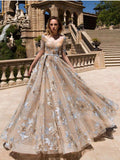 Chic A-line Scoop Beautiful Lace Long Prom Dresses Half Sleeve Evening Dress GKS215