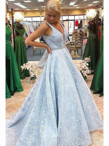 Chic A-line V neck Long Prom Dresses Lace Blue Evening Dress KPS25239|Selinadress