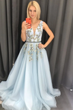 Chic A-line V neck Long Blue Lace Prom Dresses Evening Dress KPS25240|Selinadress