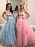 Chic A-line Sweetheart Long Prom Dresses Tulle Evening Dress KPS25245|Selinadress