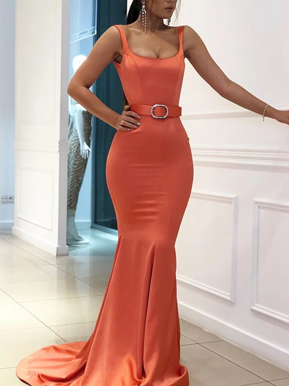 Chic Trumpet/Mermaid Scoop Long Prom Dresses Satin Evening Dress KPS25252|Selinadress