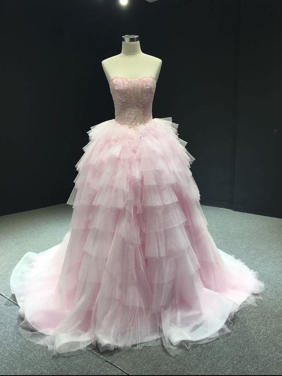 Pink Ball Gowns Sweetheart Beaded Long Prom Dresses Gorgeous Formal Dresses SED303