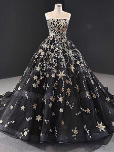 Black Strapless Ball Gowns Sparkly Long Prom Dresses Stunning Formal Dresses SED305