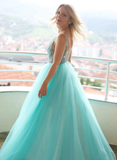 A-line V neck Stylish Tulle Lace Long Prom Dress Evening Dress SED295