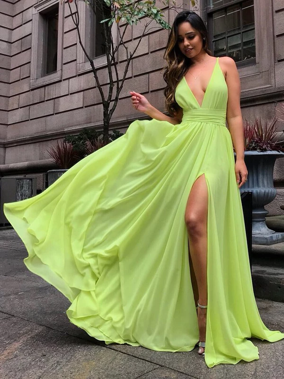 A-Line V-Neck Bright Yellow Chiffon Slip Summer Wedding Bridesmaid Dresses SED300
