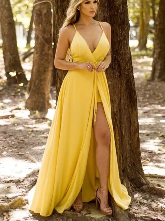 A-line Spaghetti Strap V-Neck Yellow Sexy Bridesmaid Dresses SED301
