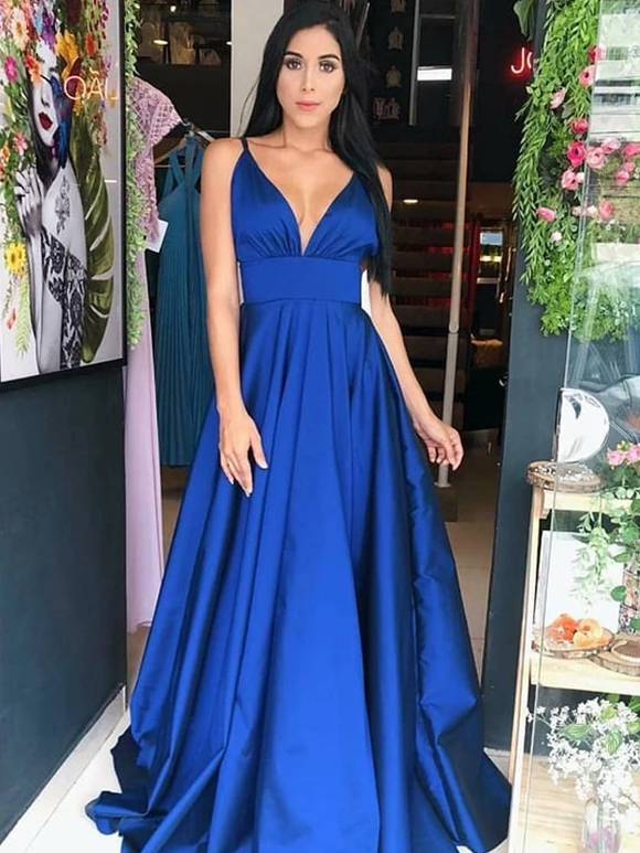 A-line Spaghetti Strap Royal Blue Satin V-Neck Cheap Prom Dresses SED302
