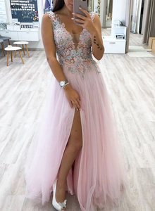 A-line Pink V neck Lace Long Prom Dresses Beautiful Evening Dresses SED289